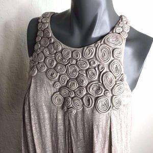 3.1 Phillip Lim Trapeze Boho Metallic Linen Dress